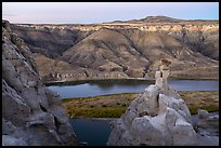 Sandstone spires and Missouri River. Upper Missouri River Breaks National Monument, Montana, USA ( color)