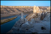 Rock pinnacles and river at dusk. Upper Missouri River Breaks National Monument, Montana, USA ( color)