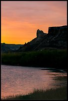 River and Hole-in-the-Wall, sunrise. Upper Missouri River Breaks National Monument, Montana, USA ( color)