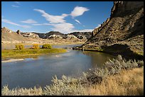River bend and island near Valley of the Walls. Upper Missouri River Breaks National Monument, Montana, USA ( color)