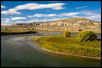 River island and sandstone spires. Upper Missouri River Breaks National Monument, Montana, USA ( color)