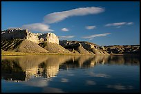 Tall cliffs reflected in river. Upper Missouri River Breaks National Monument, Montana, USA ( color)