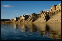 Cliffs bordering river. Upper Missouri River Breaks National Monument, Montana, USA ( color)