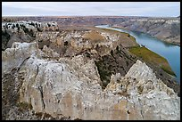 Aerial view of sandstone spires, Hole-in-the-Wall. Upper Missouri River Breaks National Monument, Montana, USA ( color)