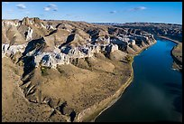 Aerial view of Dark Butte, cliffs, and river. Upper Missouri River Breaks National Monument, Montana, USA ( color)