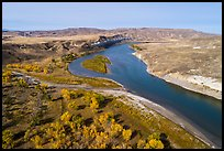 Aerial view of Cottonwoods and cliff near Slaughter River Camp. Upper Missouri River Breaks National Monument, Montana, USA ( color)