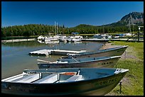 Boats and marina, Paulina Lake. Newberry Volcanic National Monument, Oregon, USA ( color)