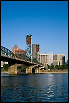 Williamette River at Hawthorne Bridge and high-rise buildings. Portland, Oregon, USA ( color)