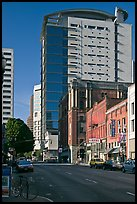 Historic and contemporary buildings, downtown. Portland, Oregon, USA ( color)