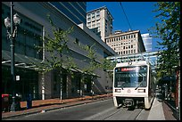 Street with tram, downtown. Portland, Oregon, USA
