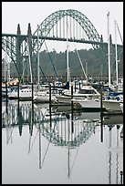Yacht harbor and Newport Bay Bridge. Newport, Oregon, USA