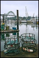 Crab traps and harbor. Newport, Oregon, USA