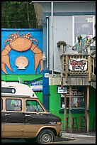 Colorful seafood restaurant. Newport, Oregon, USA