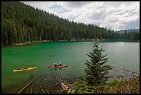 Kayaks on emerald waters, Devils Lake, Deschutes National Forest. Oregon, USA ( color)