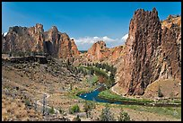 Crooked River and cliffs. Smith Rock State Park, Oregon, USA ( color)