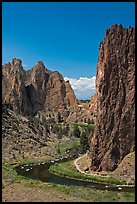 Bend of the Crooked River and Morning Glory Wall. Smith Rock State Park, Oregon, USA ( color)