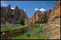 Crooked River valley and rock walls. Smith Rock State Park, Oregon, USA ( color)