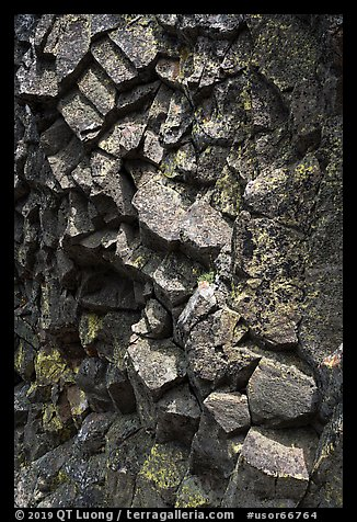 Basalt rock with hexagonal patterns, Pilot Rock. Cascade Siskiyou National Monument, Oregon, USA (color)