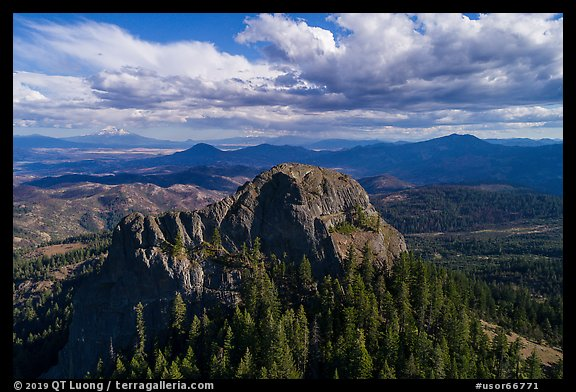 Aerial view of Pilot Rock from the north. Cascade Siskiyou National Monument, Oregon, USA (color)
