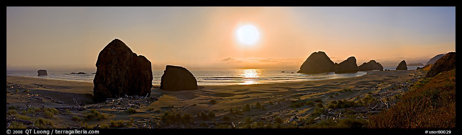 Pacific coastal scenery with setting sun, Pistol River State Park. Oregon, USA (color)