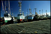 Boats on the dry deck of Port Orford. Oregon, USA (color)