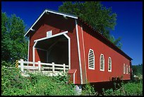Red covered bridge, Willamette Valley. Oregon, USA (color)