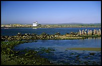Coquille River estuary with lighthouse. Bandon, Oregon, USA (color)