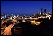 Seattle skyline, Qwest Field and freeways at dawn. Seattle, Washington ( color)