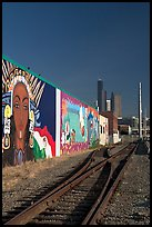 Railroad, mural, and high-rise towers. Seattle, Washington