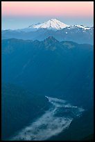 Dawn over fog-filled valley and Mt Baker, Mount Baker Glacier Snoqualmxie National Forest. Washington ( color)