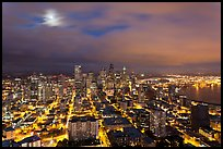 Cityscape with moon. Seattle, Washington ( color)