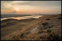 Sunset over Columbia River from White Bluffs Overlook, Wahluke Unit, Hanford Reach National Monument. Washington ( color)