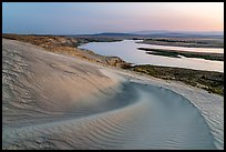Sand dunes and Columbia River, and Locke Island at sunset, Hanford Reach National Monument. Washington ( color)