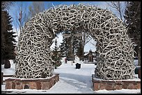 Antler Arch and Town Square in winter. Jackson, Wyoming, USA ( color)
