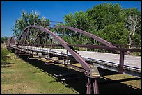 Three-span bowstring through truss bridge over the North Platte River. Fort Laramie National Historical Site, Wyoming, USA ( color)