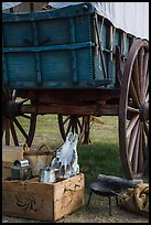 Pionneer wagon and camp gear. Fort Laramie National Historical Site, Wyoming, USA ( color)