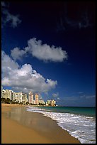 Beach and high-rise buildings, morning. San Juan, Puerto Rico ( color)