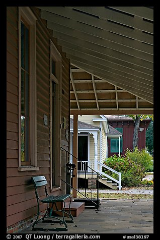 Porch, bench, and buildings in Old Alabama Town. Montgomery, Alabama, USA