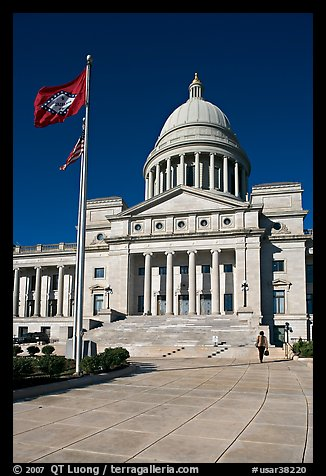 Arkansas Capitol with woman carrying briefcase. Little Rock, Arkansas, USA