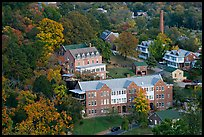 Historic buildings and smokestack from above. Hot Springs, Arkansas, USA ( color)