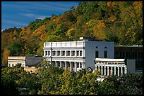 Historic buildings and trees in fall foliage. Hot Springs, Arkansas, USA ( color)