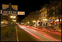Historic district avenue with car lights. Hot Springs, Arkansas, USA ( color)