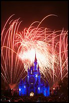 Fireworks over fairy-tale fortress. Orlando, Florida, USA ( color)