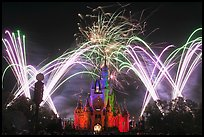 Night Fireworks, Cinderella Castle, Walt Disney World. Orlando, Florida, USA ( color)