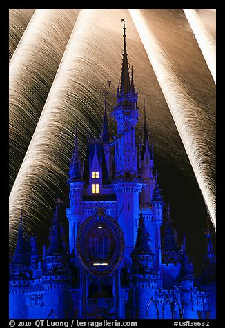Fairy-tale castle at night with fireworks. Orlando, Florida, USA