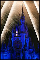 Fairy-tale castle at night with fireworks. Orlando, Florida, USA ( color)