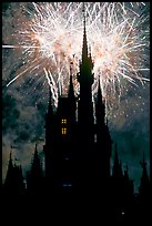 Cinderella Castle at night with fireworks in sky. Orlando, Florida, USA ( color)