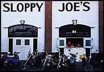 Motorbikes in front of Sloppy Joe. Key West, Florida, USA ( color)