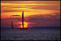 Sailboats viewed against sun disk at sunset. Key West, Florida, USA ( color)