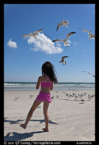 Girl playing with seabirds, Jetty Park beach. Cape Canaveral, Florida, USA (color)